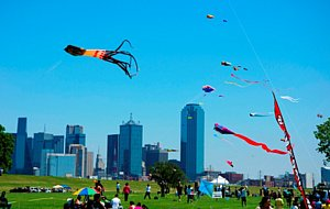 Kites flying at the Trinity River Wind Festival at Trammell Crow Park.
